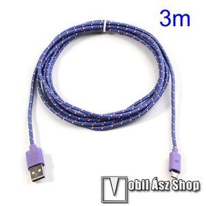 Egyéb Adatátviteli kábel / USB töltő - microUSB 2.0, 3m hosszú - LILA