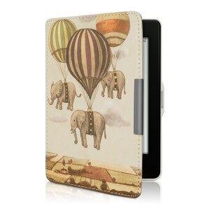 kwmobile Amazon Kindle Paperwhite 3 flip tok design elefánt - bézs