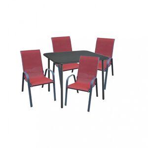 Gardenwell Cado 4+1 kerti bútor garnitúra, piros székkel