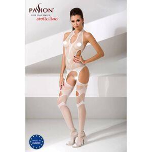 Passion BS053 - absztrakt mintás, nyakpántos necc szett (fehér) - S-L