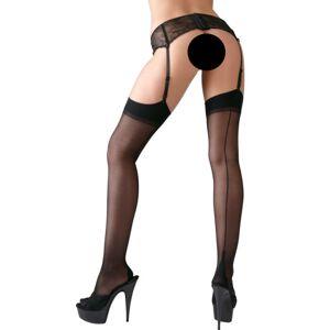 Cottelli Collection Cottelli - hátul csíkos harisnya magas sarokvarrással (fekete)