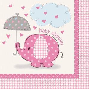 "Unique Szalvéta Umbrellaphants ""Baby shower"" - Lány / Girl 16 db - UNIQUE"