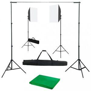 Fotóstúdió-felszerelés softbox lámpákkal és háttérrel