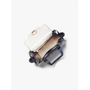 MICHAEL Michael Kors MK Carmen Small Color-Block Saffiano Leather Belted Satchel - Nvy/wht/pblu - Michael Kors NS NS