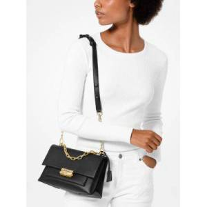 MICHAEL Michael Kors MK Cece Medium Leather Shoulder Bag - Black - Michael Kors NS NS