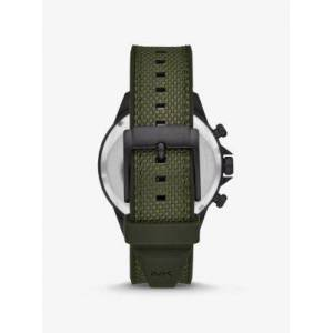 Michael Kors MK Oversized Gage Black-Tone and Woven Watch - Olive - Michael Kors NS NS