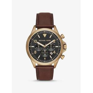 Michael Kors MK Oversized Gage Leather and Gold-Tone Watch - Luggage Brown - Michael Kors NS NS