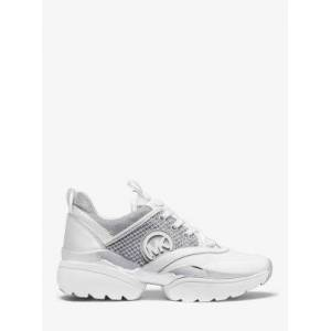 Michael Kors MK Charlie Mixed-Media Trainer - Silver - Michael Kors EU 41 / IT 40 EU 41 / IT 40