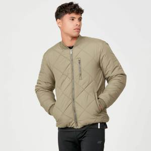 Myprotein Pro-Tech Quilted Bomber Jacket - Light Olive - L