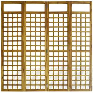 vidaXL 4-Panel Room Divider / Trellis Solid Acacia Wood 160x170 cm