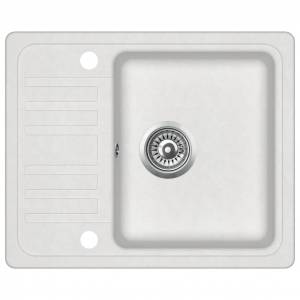vidaXL Granite Kitchen Sink Single Basin White