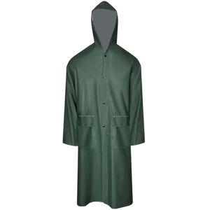 vidaXL Waterproof Heavy-duty Long Raincoat with Hood Green XXL