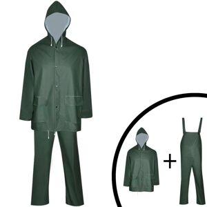 vidaXL Waterproof Heavy-duty 2-piece Rain Suit with Hood Green L