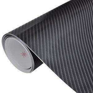 vidaXL Carbon Fiber Vinyl Car Film 4D Black 152 x 200 cm