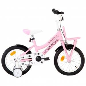 vidaXL Kids Bike with Front Carrier 14 inch White and Pink