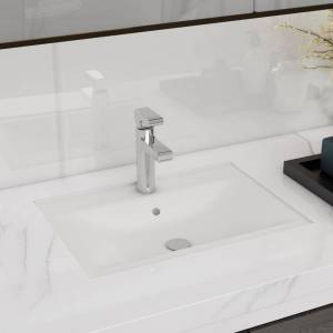 vidaXL Ceramic Bathroom Sink Basin Faucet/Overflow Hole White Rectangular