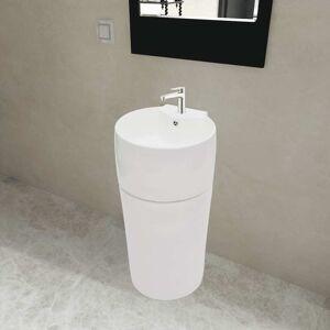 vidaXL Ceramic Stand Bathroom Sink Basin Faucet/Overflow Hole White Round