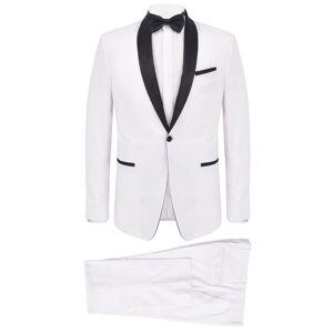 vidaXL Men's 2 pcs Black Tie Dinner Suit/Smoking Tuxedo Size 48 White