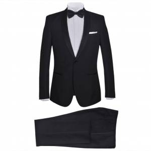 vidaXL Men's Two Piece Black Tie Dinner Suit/Smoking Tuxedo Size 50