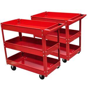 vidaXL 2 x Workshop Tool Trolley 100 kg 3 Shelves