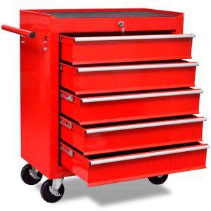 vidaXL Workshop Tool Trolley 5 Drawers Red