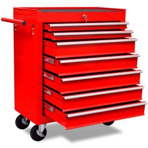 vidaXL Workshop Tool Trolley 7 Drawers Red