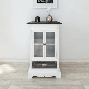 vidaXL Cabinet 2 Doors 1 Drawer White Wood