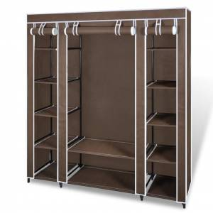 vidaXL Fabric Wardrobe with Compartments and Rods 45x150x176 cm Brown