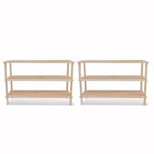 vidaXL Wooden Shoe Rack 3-Tier Shoe Shelf Storage 2 pcs