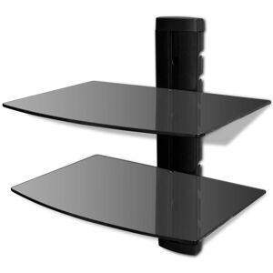 vidaXL 2-tier Wall Mounted Glass DVD Shelf Black