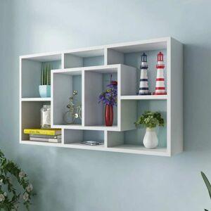 vidaXL Floating Wall Display Shelf 8 Compartments White