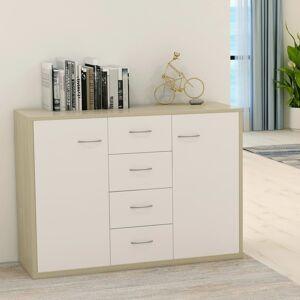 vidaXL Sideboard White and Sonoma Oak 88x30x65 cm Chipboard