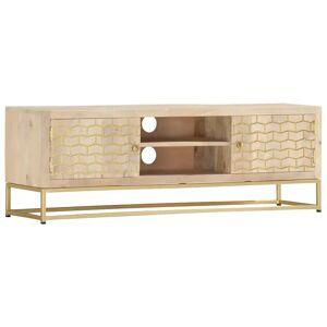 vidaXL TV Cabinet Gold 120x30x40 cm Solid Mango Wood