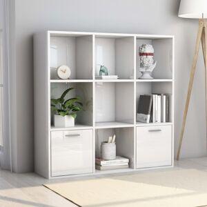 vidaXL Book Cabinet High Gloss White 98x30x98 cm Chipboard