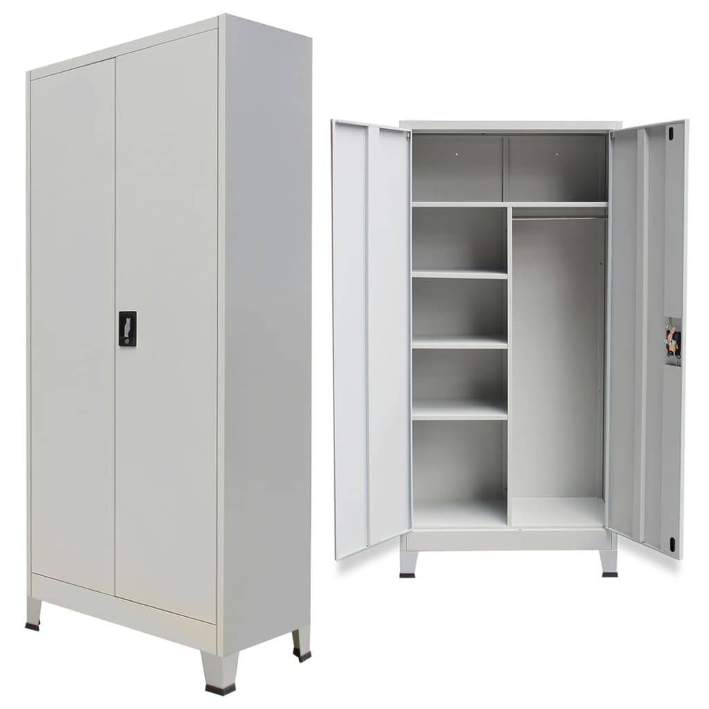 vidaXL Locker Cabinet with 2 Doors Steel 90x40x180 cm Grey