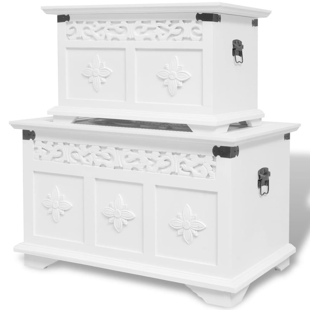 vidaXL Two Piece Storage Chest Set White