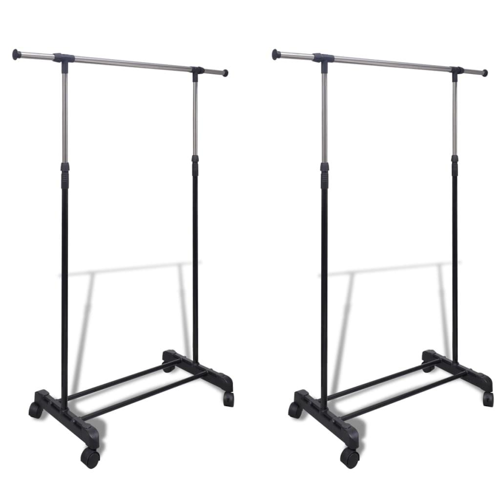 vidaXL Adjustable Clothes Racks 2 pcs 1 Hanging Rail