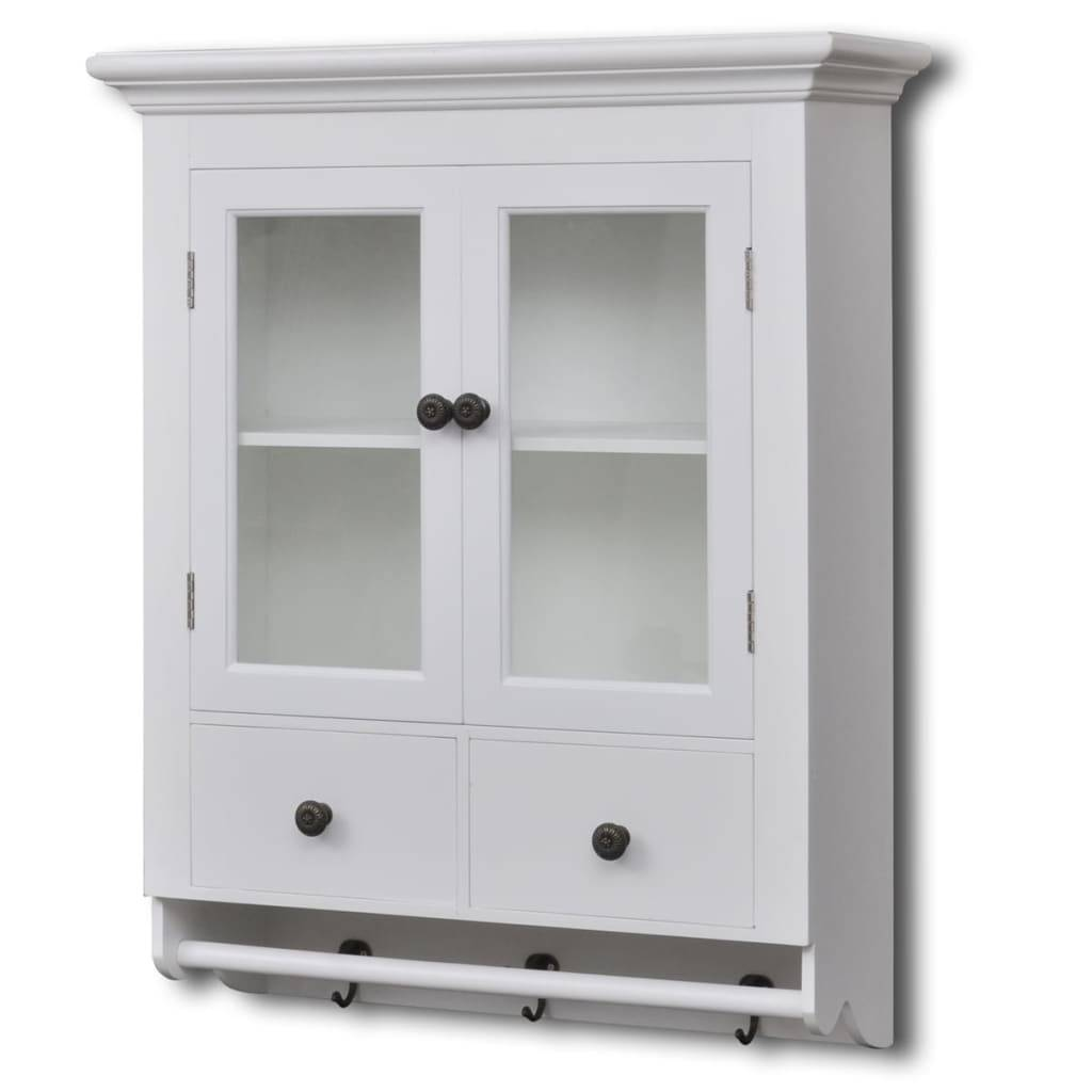 vidaXL Wooden Kitchen Wall Cabinet with Glass Door White