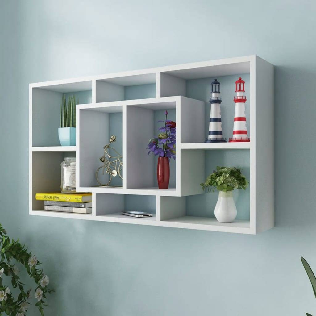 vidaXL Floating Wall Display Shelf 8 Compartments White