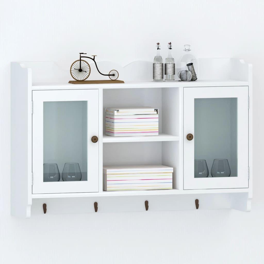 vidaXL White MDF Wall Cabinet Display Shelf Book/DVD/Glass Storage