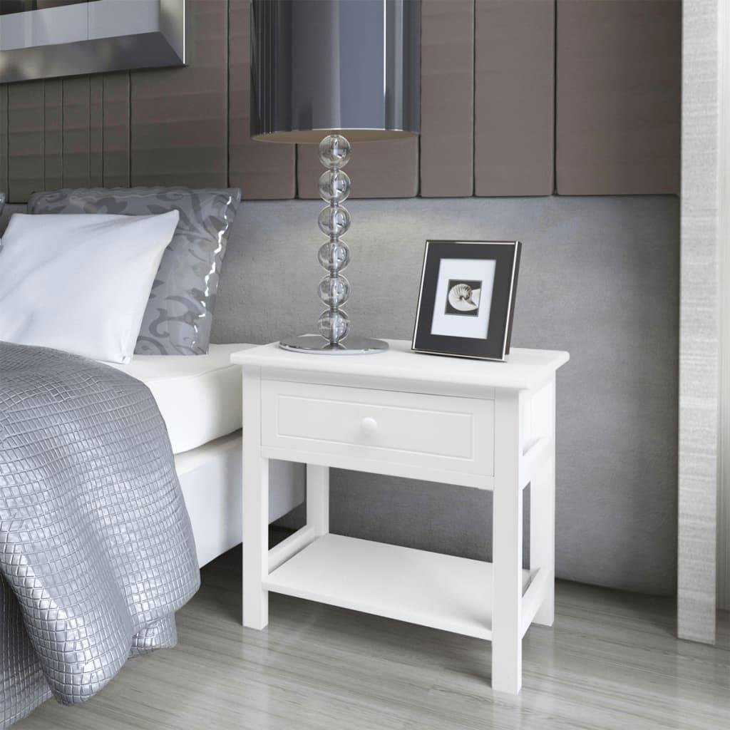 vidaXL Bedside Cabinets 2 pcs Wood White