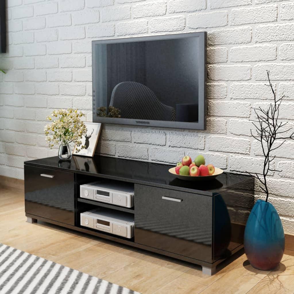 vidaXL TV Cabinet High-Gloss Black 140x40.3x34.7 cm