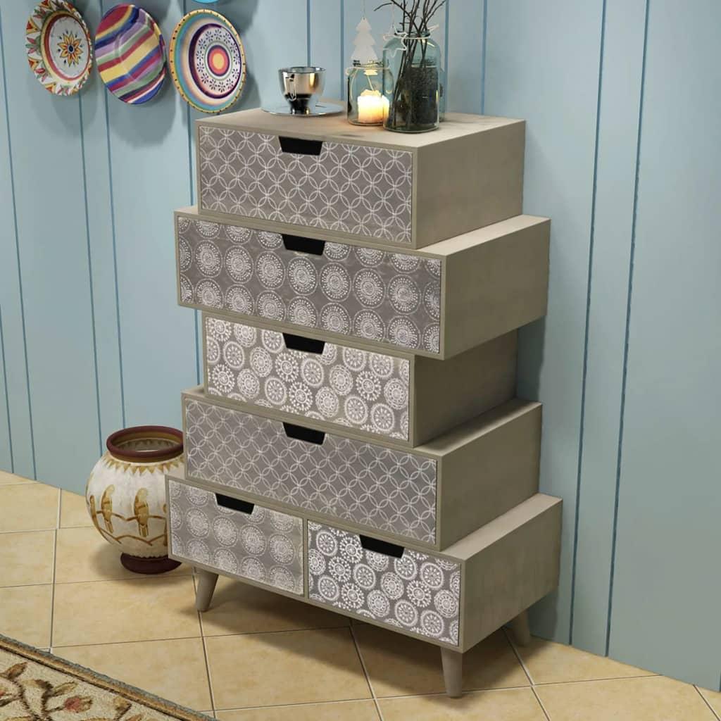 vidaXL Side Cabinet 6 Drawers Grey