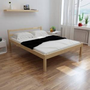vidaXL Bed Frame Solid Pinewood 135x190 cm