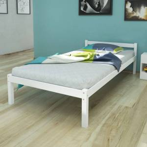 vidaXL Bed Frame White Solid Pinewood 90x200 cm