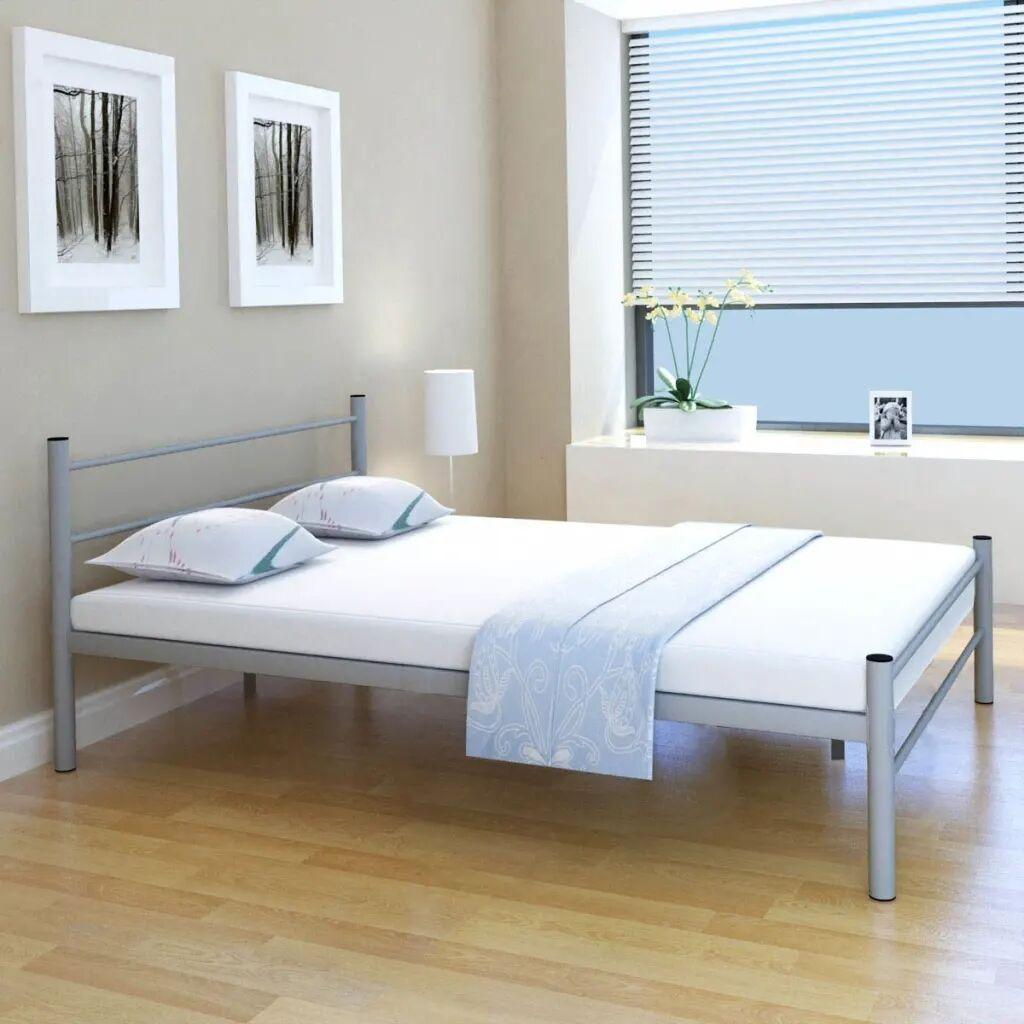 vidaXL Bed Frame Metal Grey 140x200 cm