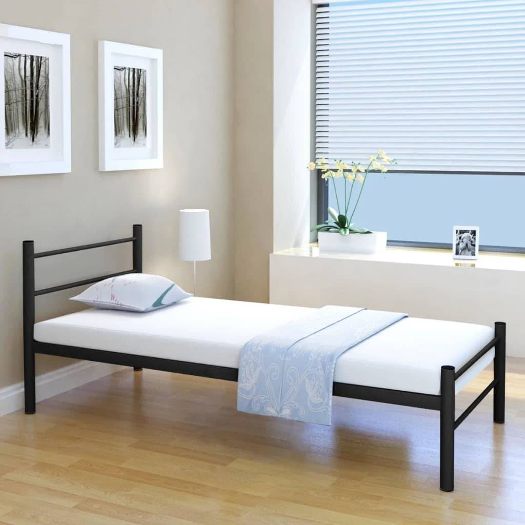 vidaXL Bed Frame Black Metal 90x200 cm