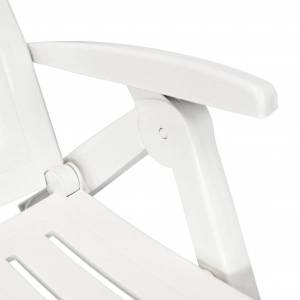 vidaXL Sun Lounger with Footrest Plastic White