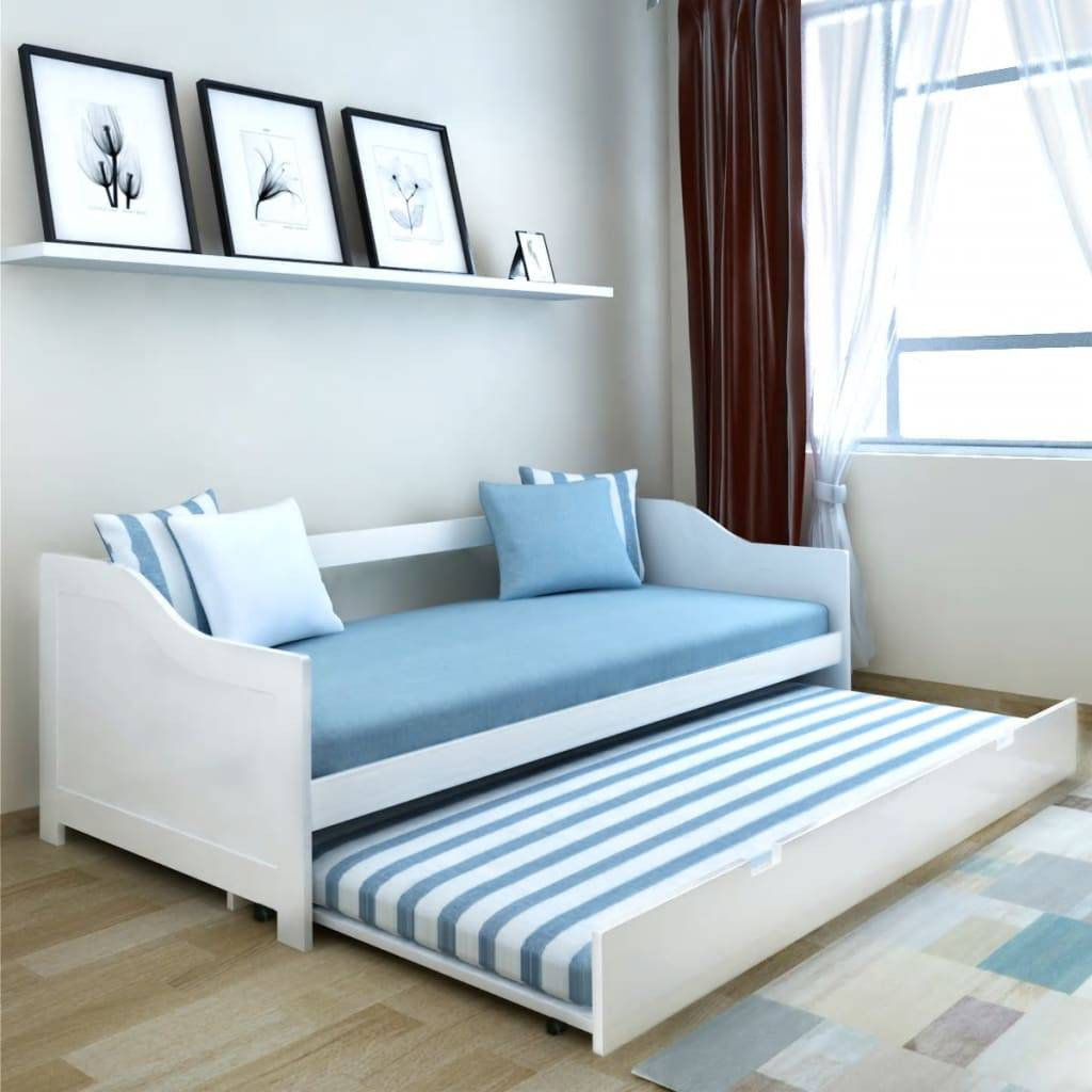 vidaXL Pull Out Sofa Bed Frame White Pinewood 90x200 cm