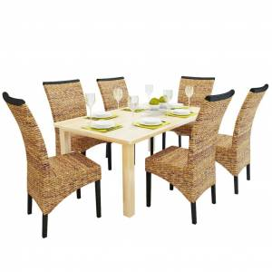 vidaXL Dining Chairs 6 pcs Abaca Brown